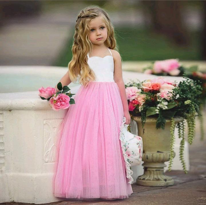 Vestido Niña Fiesta Rosa Tul Y Algodon Talle 5-6 Nuevo - $ 850,00 en ...