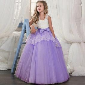 Vestido Niña Fiesta Tul Encaje Purpura