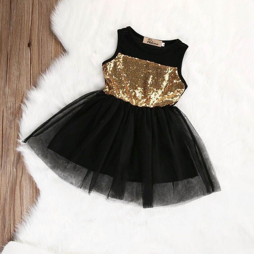 Vestido Niña Lentejuela Negro Dorado Tul Tutu