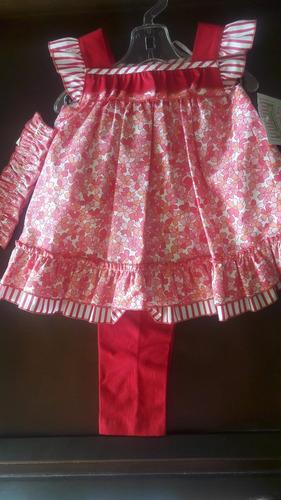vestido niña nuevo, marca jessy franz, ropa 3 piezas bebe