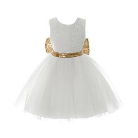 Vestido Niña Presentación Fiesta Moño Tutu Elegante Glamour
