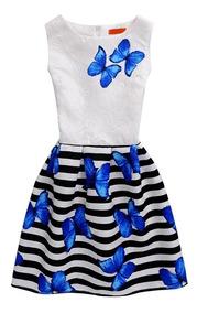 Vestido Niña Primavera Diseño Mariposas Azules