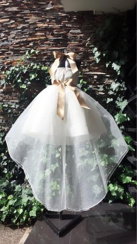 vestido niña primera comunión cola pato