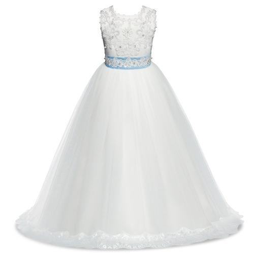 vestido niña primera comunión fiesta encaje tul paje hermoso