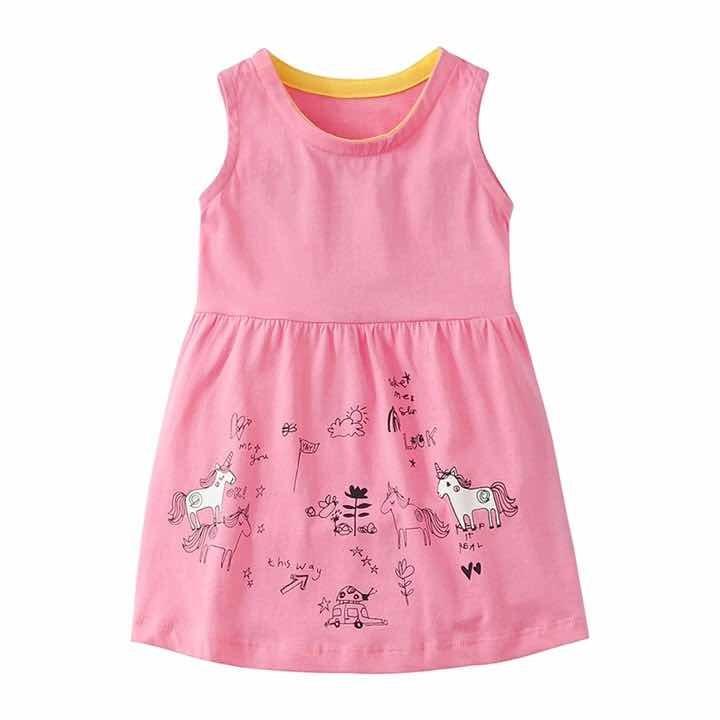 Vestido Nina Rosa Unicornio Tipo Carters Verano Talla 5 380 00