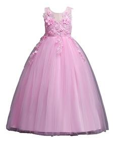 Vestido Niña Tul Fiesta Paje Comuniónd Gala Rosa