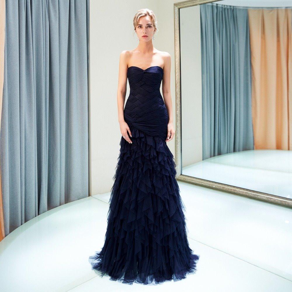 Vestido Noche Azul Marino Corte Sirena Envio Gratis Z 1826