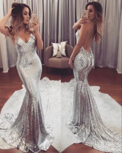 Vestido Noche Coctel Boda Plata Hermoso Largo Moda 2018 T L