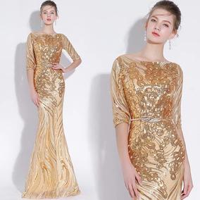 Vestido Noche Dorado Envio Gratis E 180420001