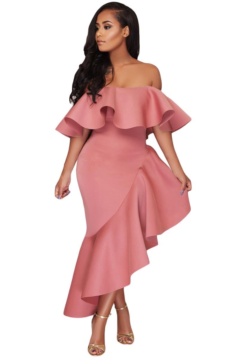 081fcf0dc Vestido Noche Fiesta Rosa Asimetrico Hombro -   419.00 en Mercado Libre