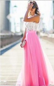 Vestido Noche Largo Boda Fiesta Rosa Moda 2018 Talla S M