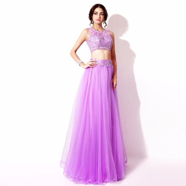Vestidos de noche largos lila