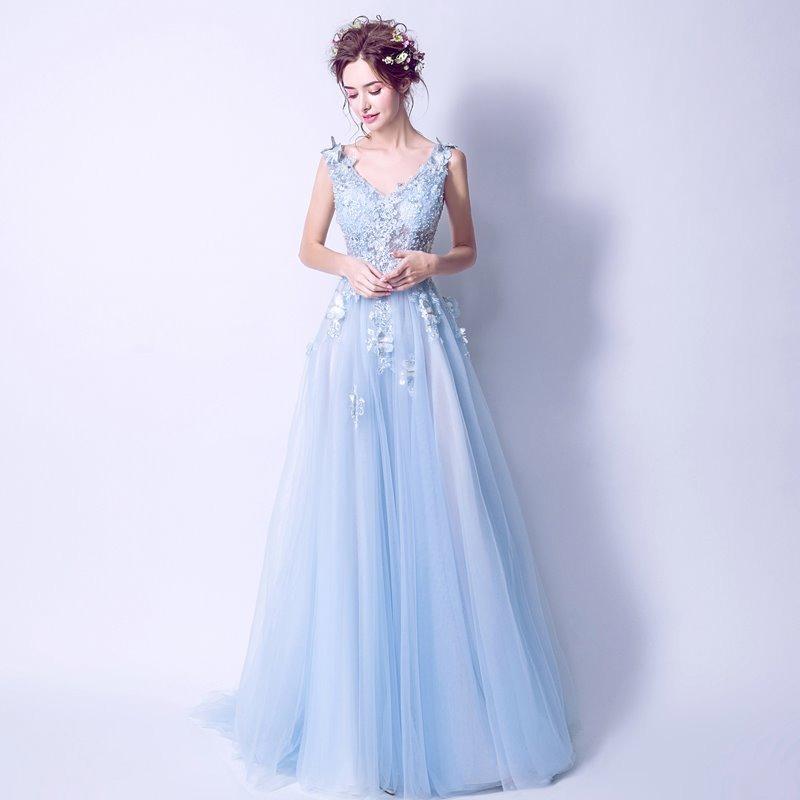Vestido Noche Largo Z 082101 Envio Gratis Azul