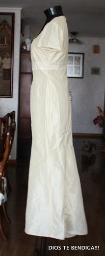 vestido noche marfil sirena de noche seda t42