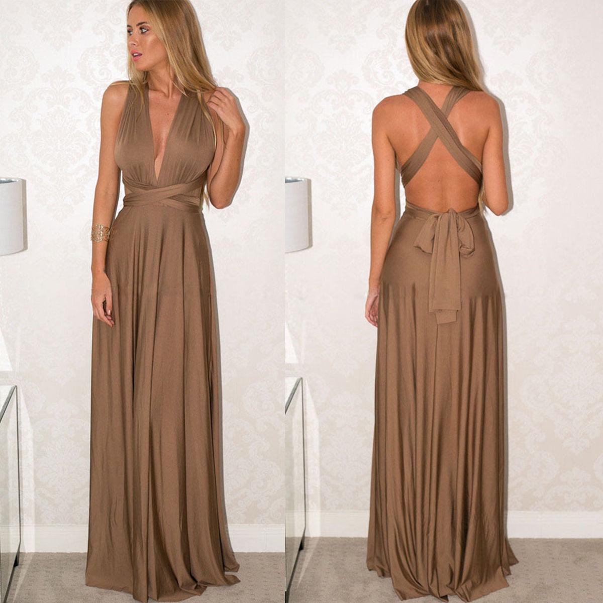 Vestido de noche color nude