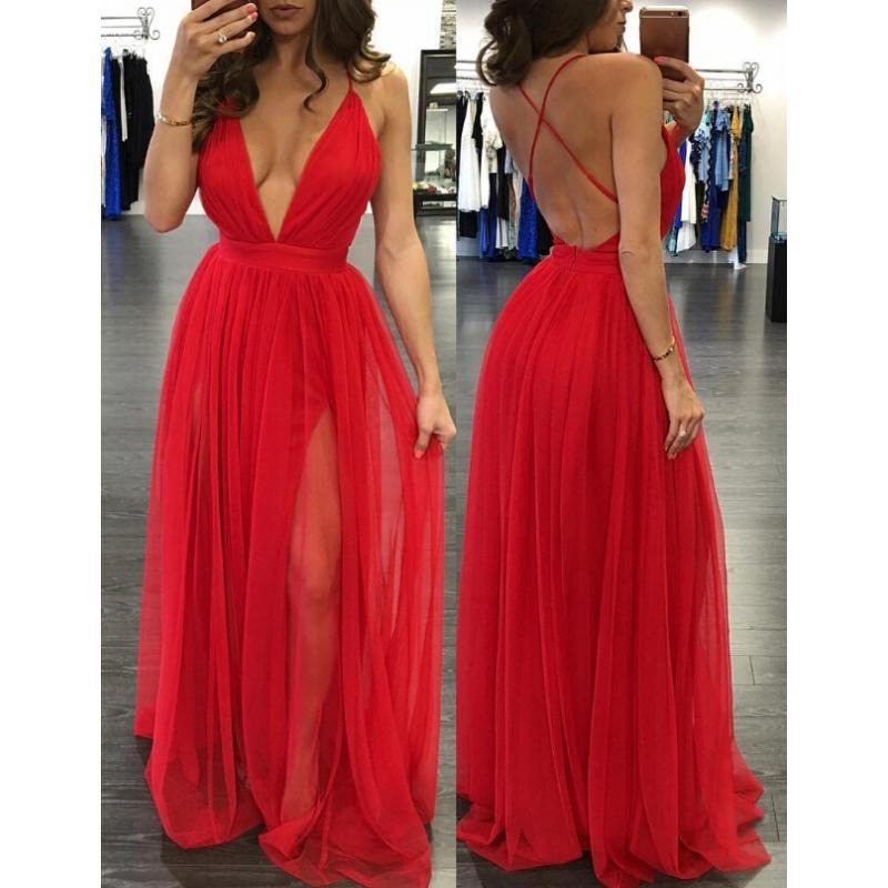 fee81e59e2 vestido noche sexy rojo escote profundo espalda descubierta! Cargando zoom.