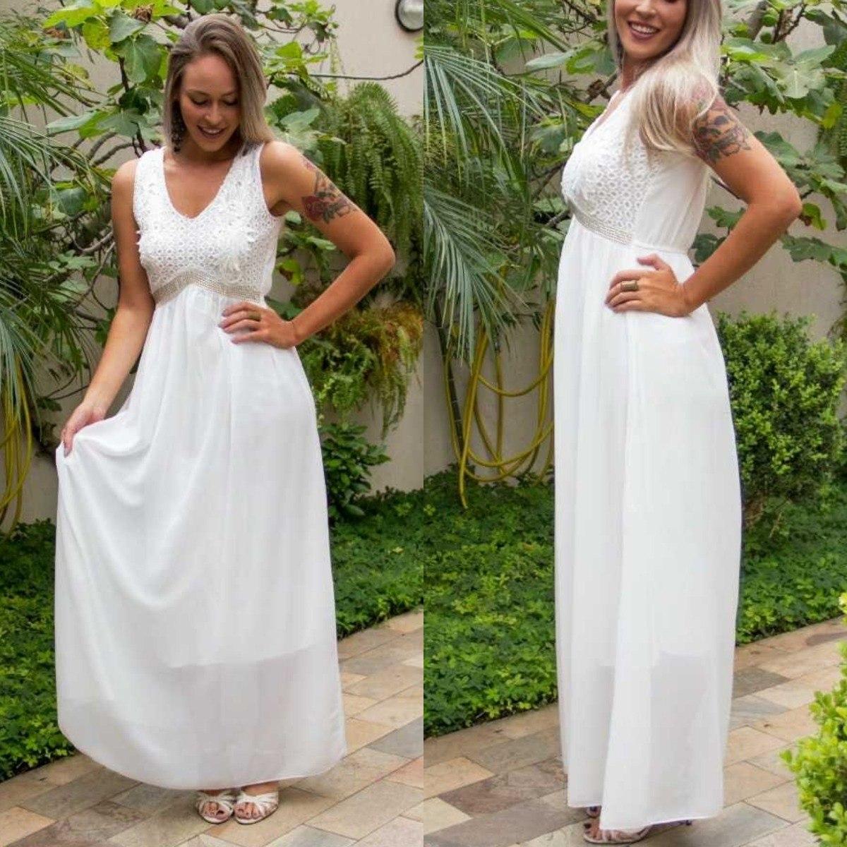 Vestido Noiva Casamento Civil Gravida Gestante Longo Strass