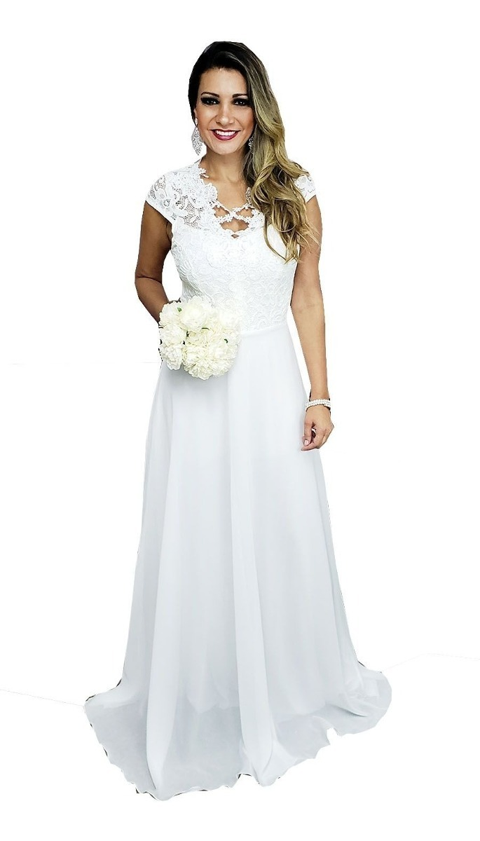 b8ff9c234ad1 Vestido Noiva Casamento Civil, Praia, Campo, Simples - R$ 230,00 em ...