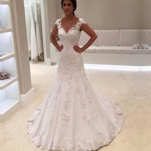 Vestido Noiva Casamento Lindo Evasê Alça Costas Luxo