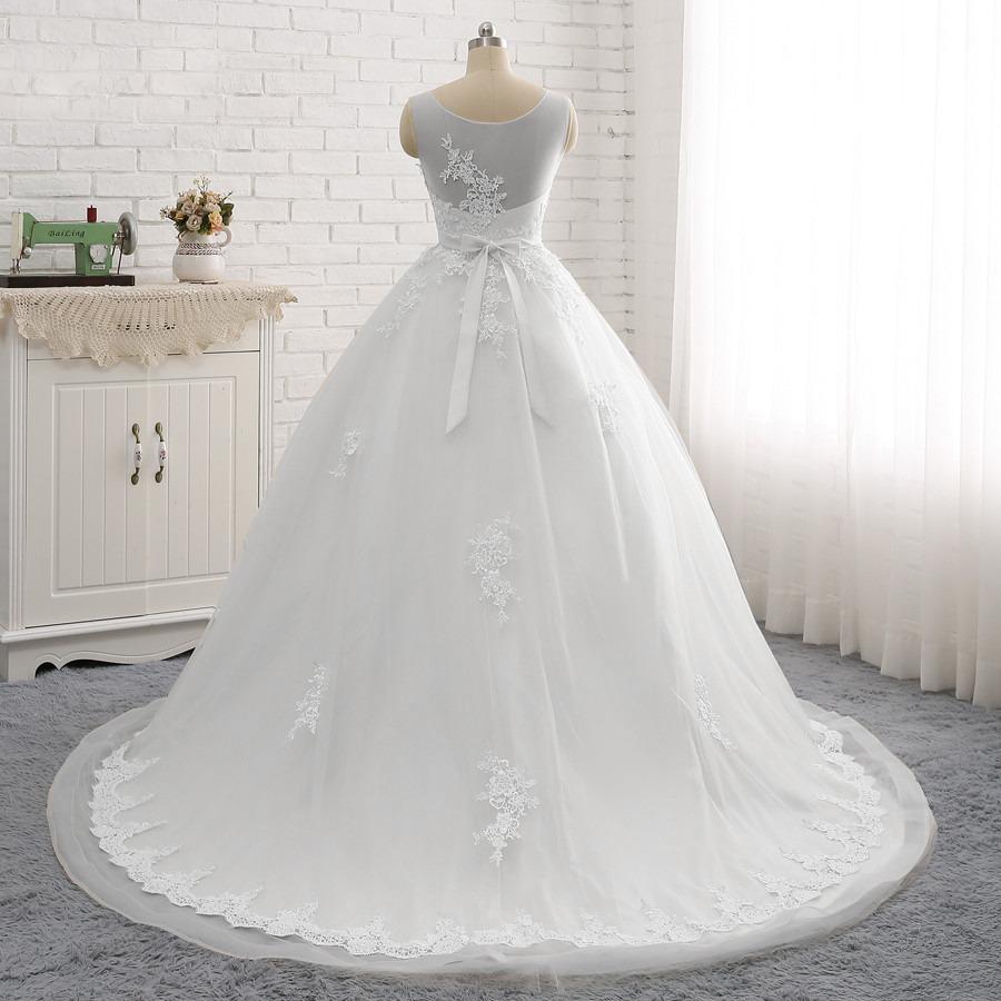 Vestido Noiva Casamento Moderno Cauda Longa Pronta Entrega