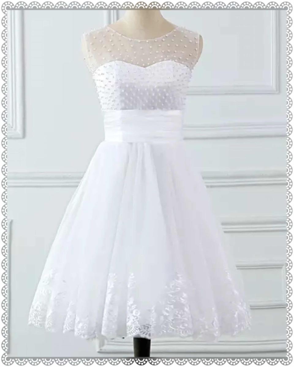 82f33e3dee Vestido Noiva  Festa  Debutantes Curto Com Pérolas - R  375
