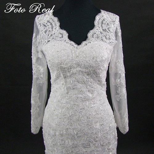 vestido noiva lindo casamento sereia manga comprida 'fli-76'