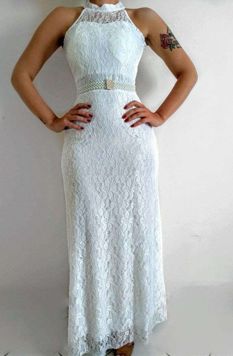 be6844cb8631 vestido noiva longo renda casamento civil + cinto pérolas. Carregando zoom.