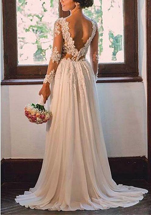 Vestido Noiva Luxo Campo Manga Costas Aberta Pérolas Cauda