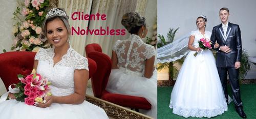 vestido noiva nb07 renda costas transparente cauda barato
