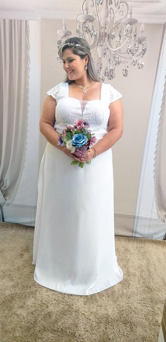 761d566cd4 vestido noiva plus size cartorio casamento civil praia campo. Carregando  zoom.
