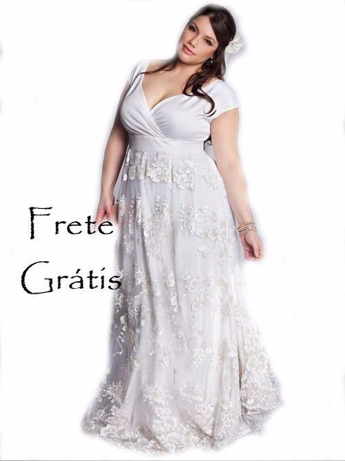aa96b26ab6 Vestido Noiva Plus Size Princesa Boho Chic Decote Renda - R  1.290 ...