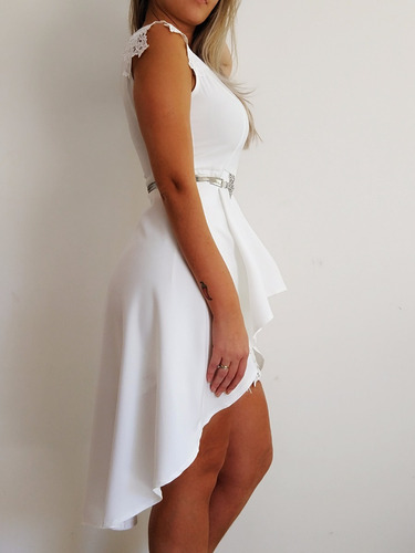 vestido noiva pré-wedding casamento no civil + cinto perola
