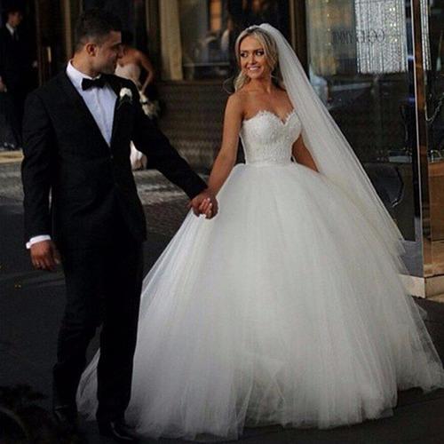 vestido noiva princesa renda elegante luxo barato