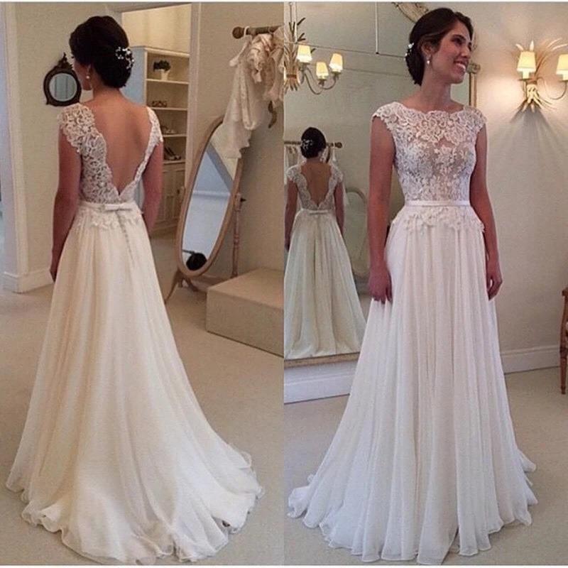 Backless Beach Wedding Dresses V Neck Flowing Vintage Boho: Vestido Noiva Renda Casamento Barato Promoção Fotos Reais