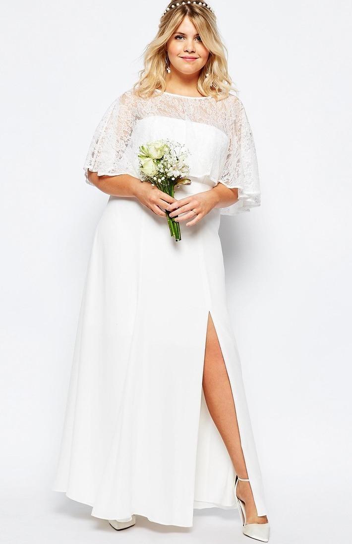 Vestido noiva renda e crepe lycra bolero plus size longo for Taille plus mariage dresse