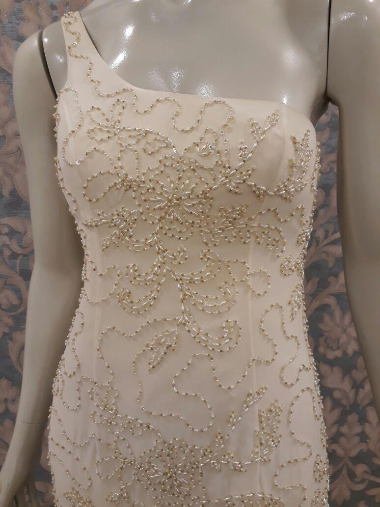 f15527d628 Vestido Noiva Reto Nude Bordado Pérola Vidrilho Paetê Tn-191 - R ...