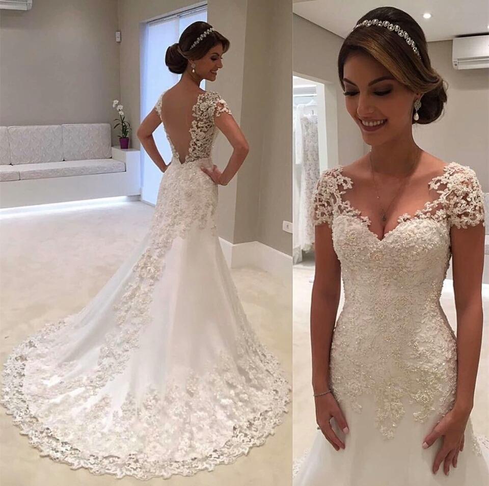 785e83551 Vestido Noiva Semi Sereia Lindo Casamento Life 'fli-98' - R$ 1.320 ...