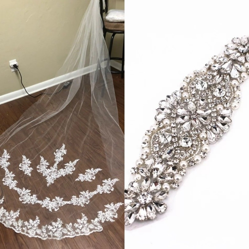 08c5856fc vestido noiva veu bordado longo+cinto noiva aplique 17cm. Carregando zoom.