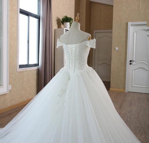 vestido novia barato hermoso princesa novias hombro sl 100