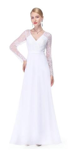 vestido novia blanco manga larga talla 12 14 16 18 ep 118