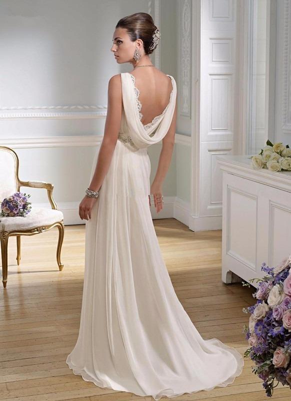vestido novia corte imperio pedrería en cintura gasa y satén