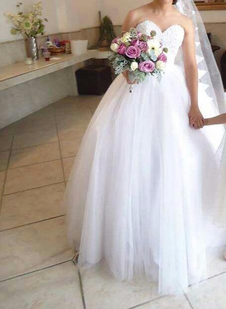 vestido novia c/ramo lazo azar tocado mismo precio todo - $ 4,200.00