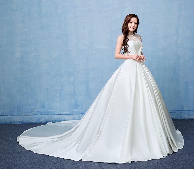 4111c5ac0 vestido novia cuello mao elegante cola 2f. Cargando zoom.