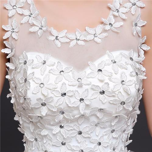 vestido novia económico cort princesa cola majestuosa flores
