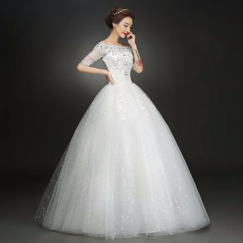 vestido novia económico media manga tul,  estilo princesa