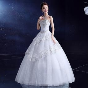 Vestido Novia Económico Strapless Pedrería Estilo Princesa