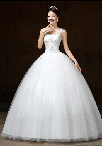 vestido novia económico, tirantes encaje,  estilo princesa