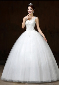 Vestido Novia Económico Tirantes Encaje Estilo Princesa