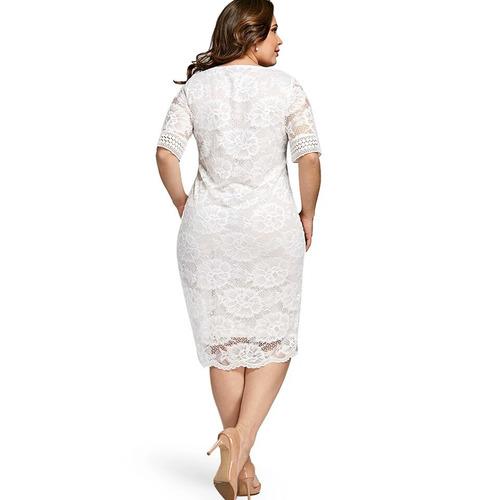 vestido novia encaje blanco talla plus grande +envíogratis