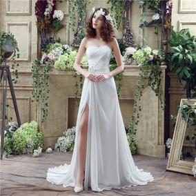 Vestido Novia Imperio Pedrería En Cintura Shifón Oferta Prom